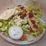 Chicken Souvlaki Plate with Greek Salad