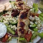 Chicken Souvlaki Plate with Greek Salad